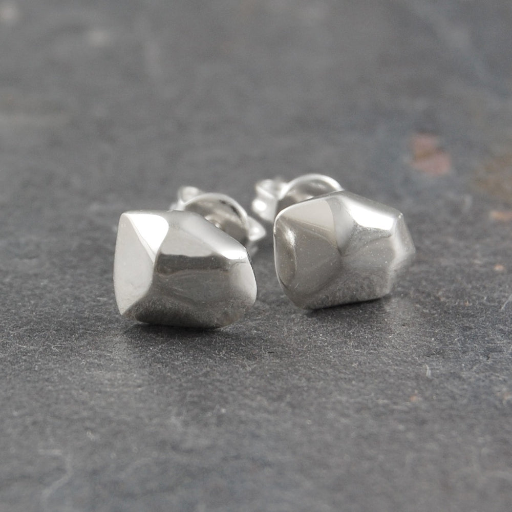 Nugget Silver Studs Earrings - Otis Jaxon Silver Jewellery