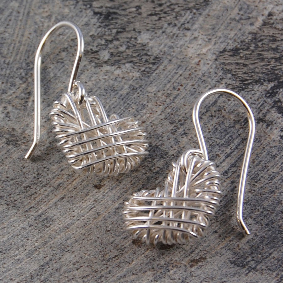 Silver Woven Heart Long Drop Earrings - Otis Jaxon Silver Jewellery