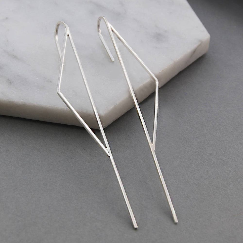 Silver Triangle Ear Cuff Earrings