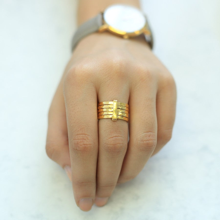 Hammered Gold Stacking Ring - Otis Jaxon Silver Jewellery
