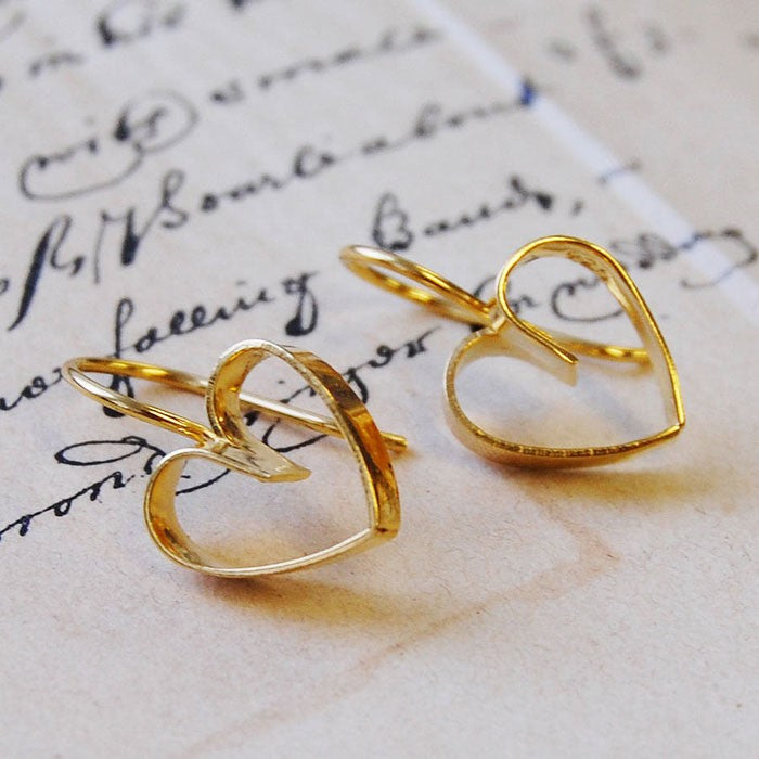 Lace Gold Heart Earrings