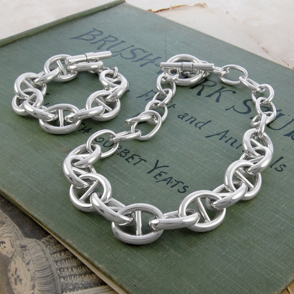 Oval Link Chunky Silver Necklace