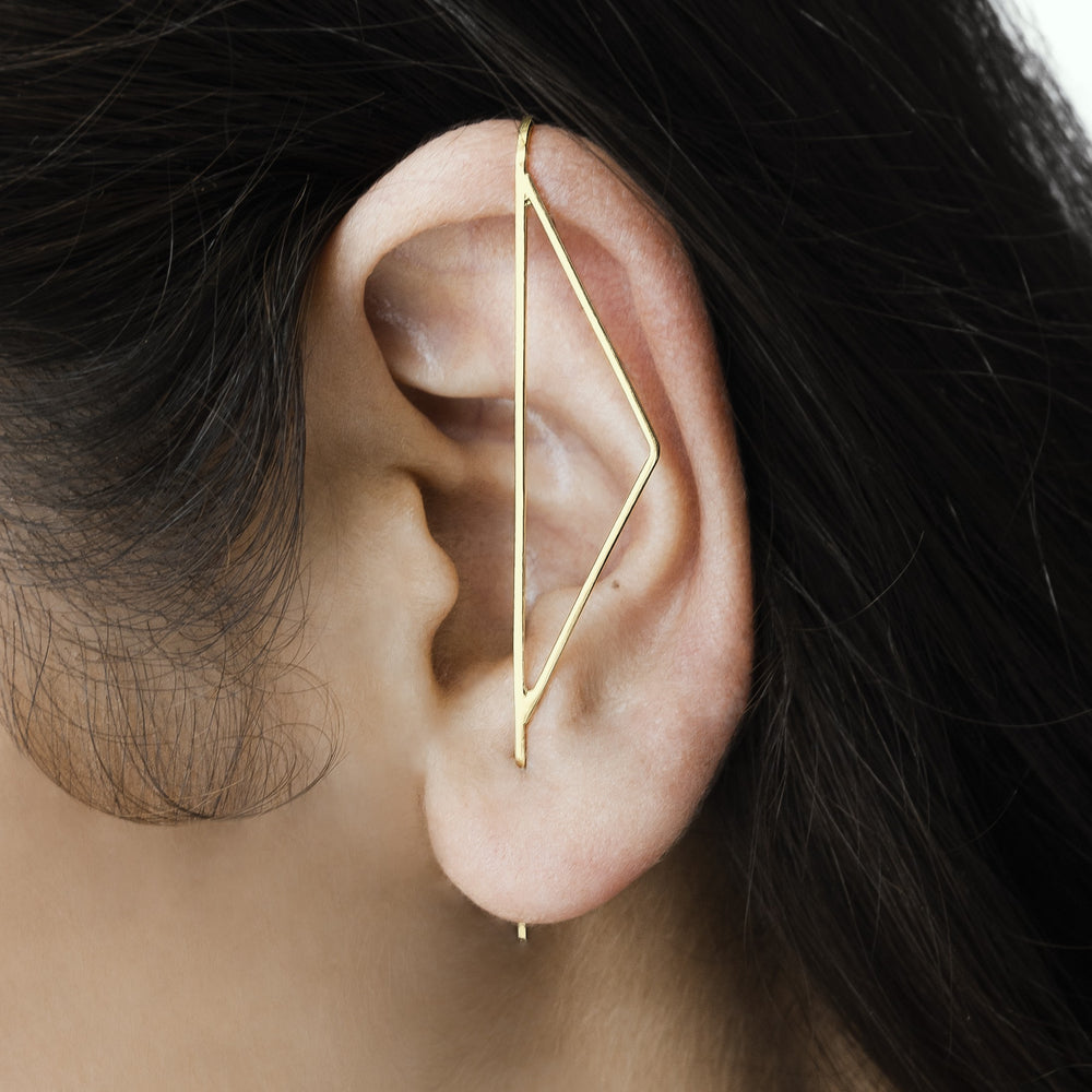 Gold Triangle Ear Climber - Otis Jaxon Silver Jewellery