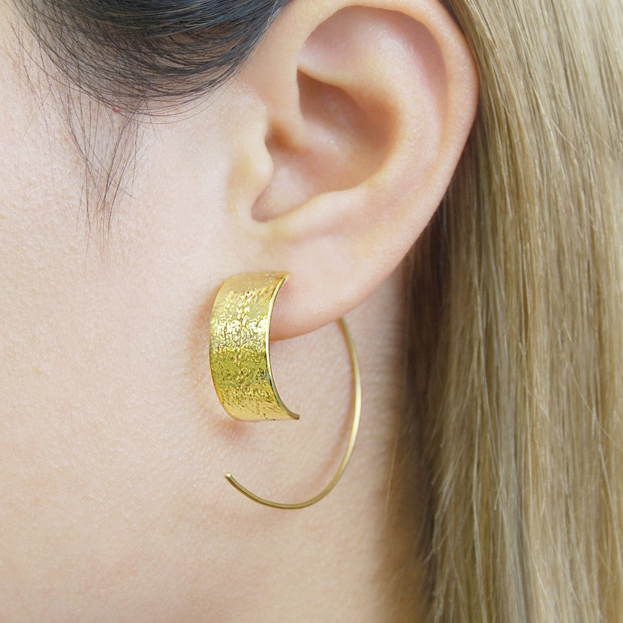 Textured Rose Gold Hoop Earrings - Otis Jaxon Silver Jewellery