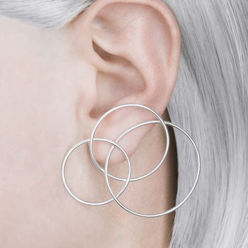 Silver Abstract Statement Stud Earrings