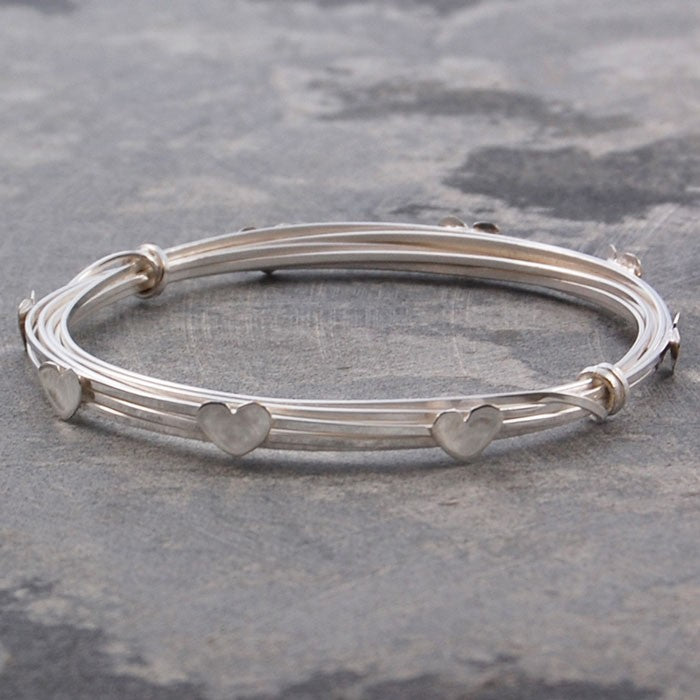 Wire Silver Heart Bangle