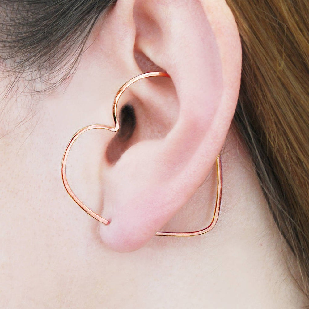 Heart Rose Gold Ear Cuffs