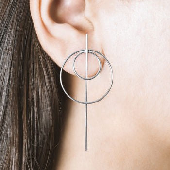 Geometric Double Circle Stud Earrings