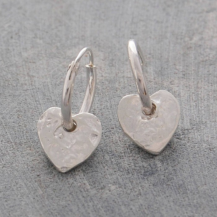 Organic Silver Heart Hoop Earrings
