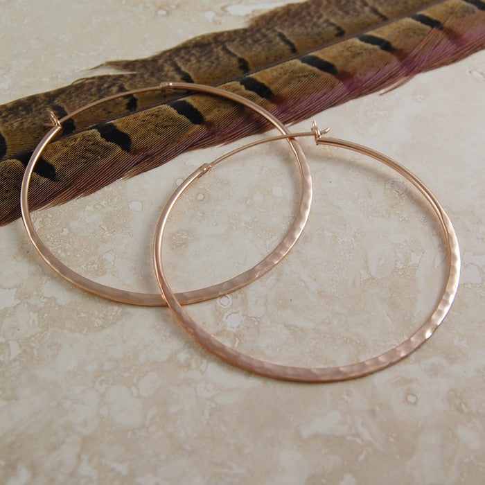 Large Hammered Rose Gold Hoop Earrings