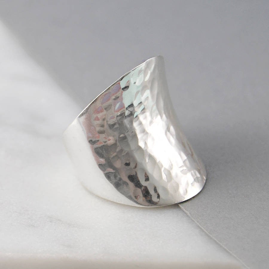 Hammered Chunky Silver Ring