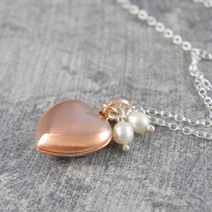 Rose Gold Heart Locket with Pearls - Otis Jaxon Silver Jewellery
