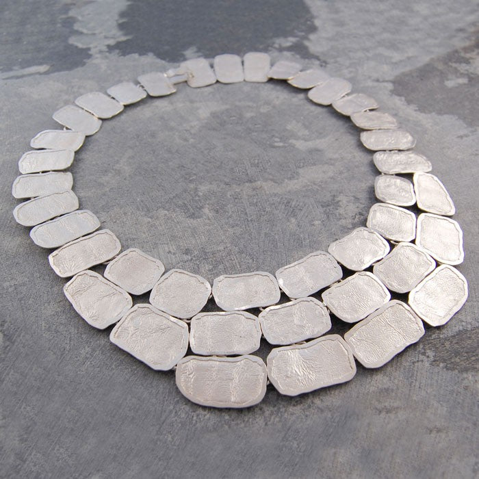 Roman Chunky Silver Statement Necklace