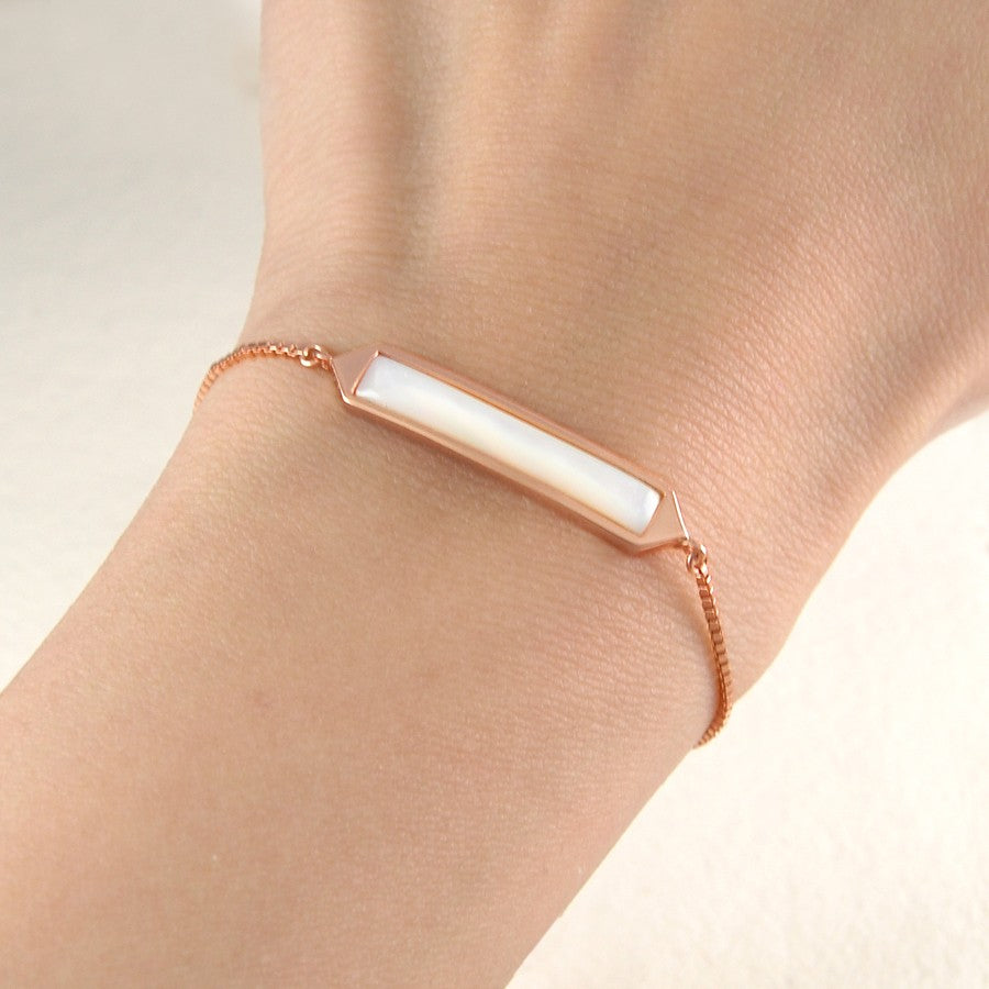 Silver and Gold Mother of Pearl Friendship Bracelet - Otis Jaxon Silver Jewellery