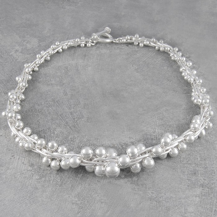 Graduated Peppercorn Chunky Silver Bracelet