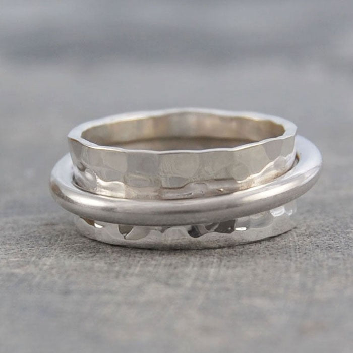 Cone Hammered Silver Ring