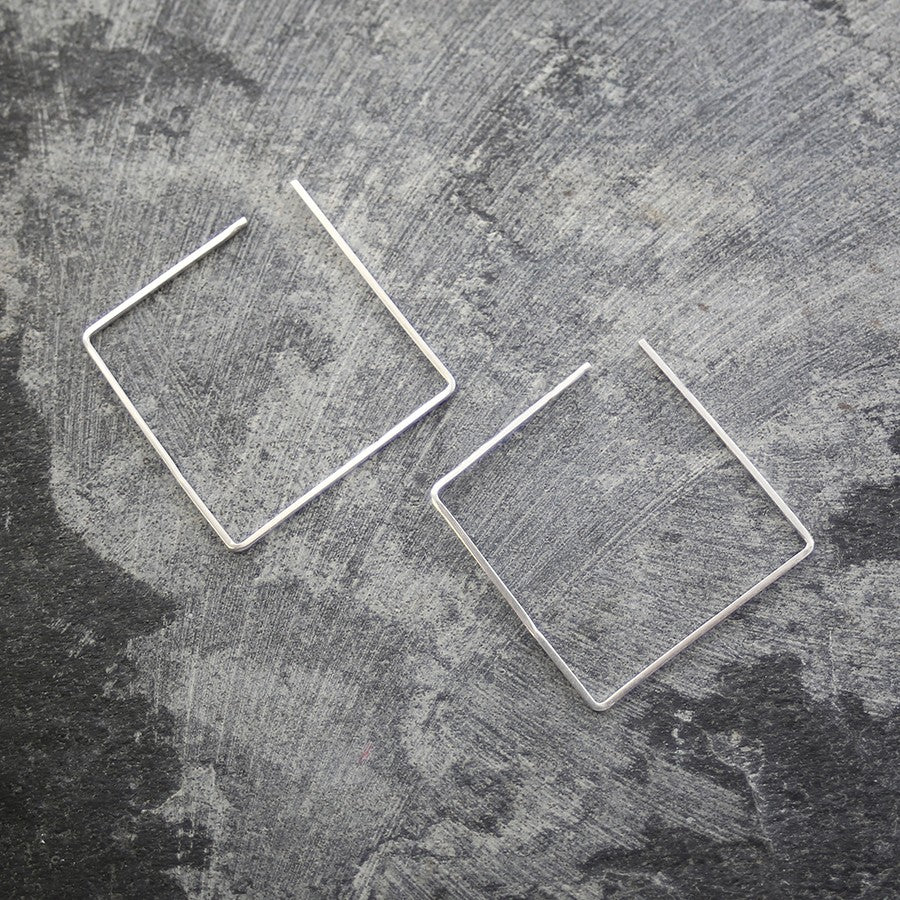Square Silver Ear Cuffs-Otis Jaxon Silver Jewellery