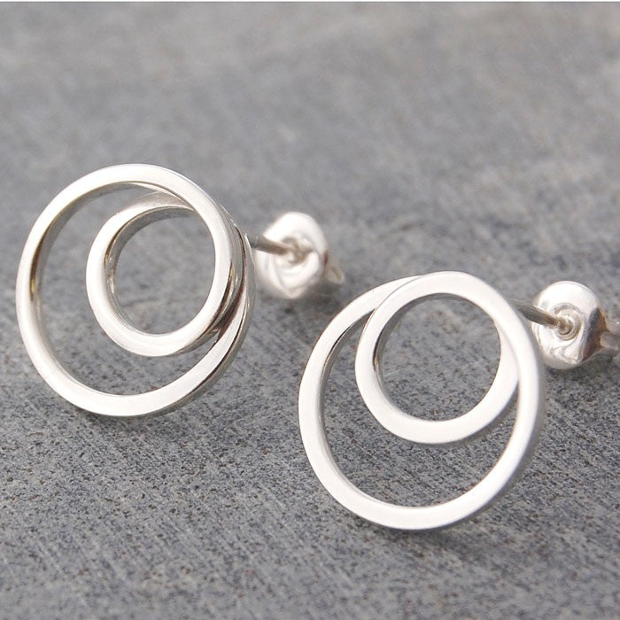 Silver Spiral Stud Hoop Earrings