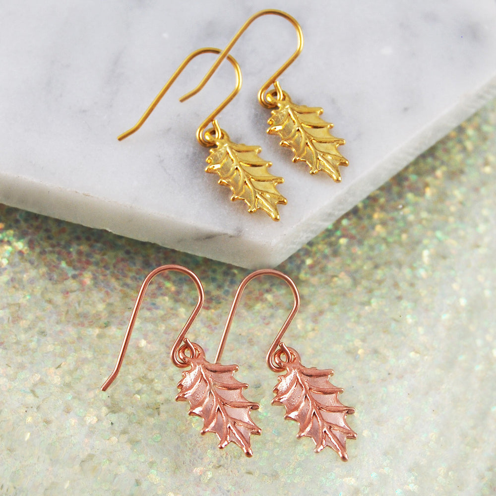 Gold Holly Christmas Earrings