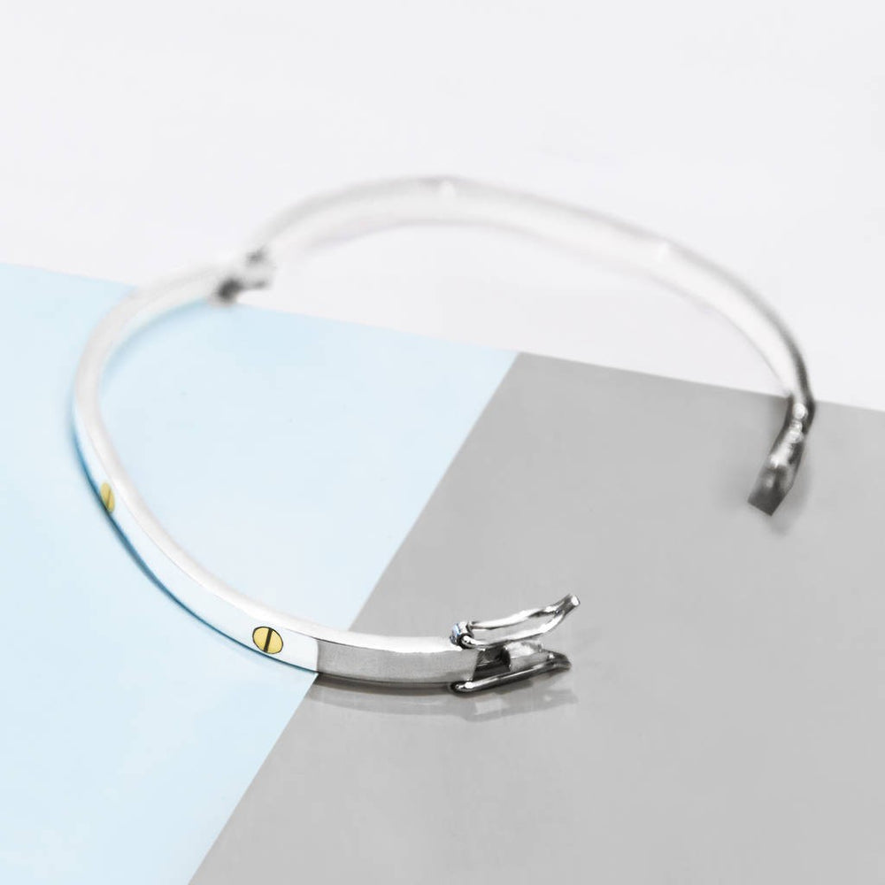Solid Silver Screw Accent Bangle