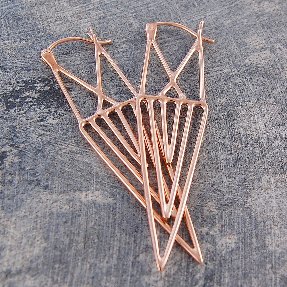 Aztec Geometric Rose Gold Drop Earrings