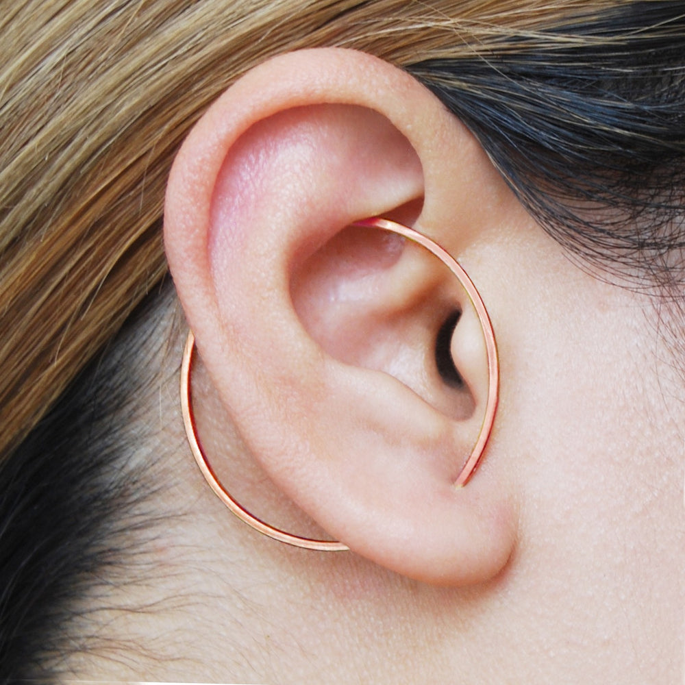Rose Gold Round Ear Cuff Earrings - Otis Jaxon Silver Jewellery