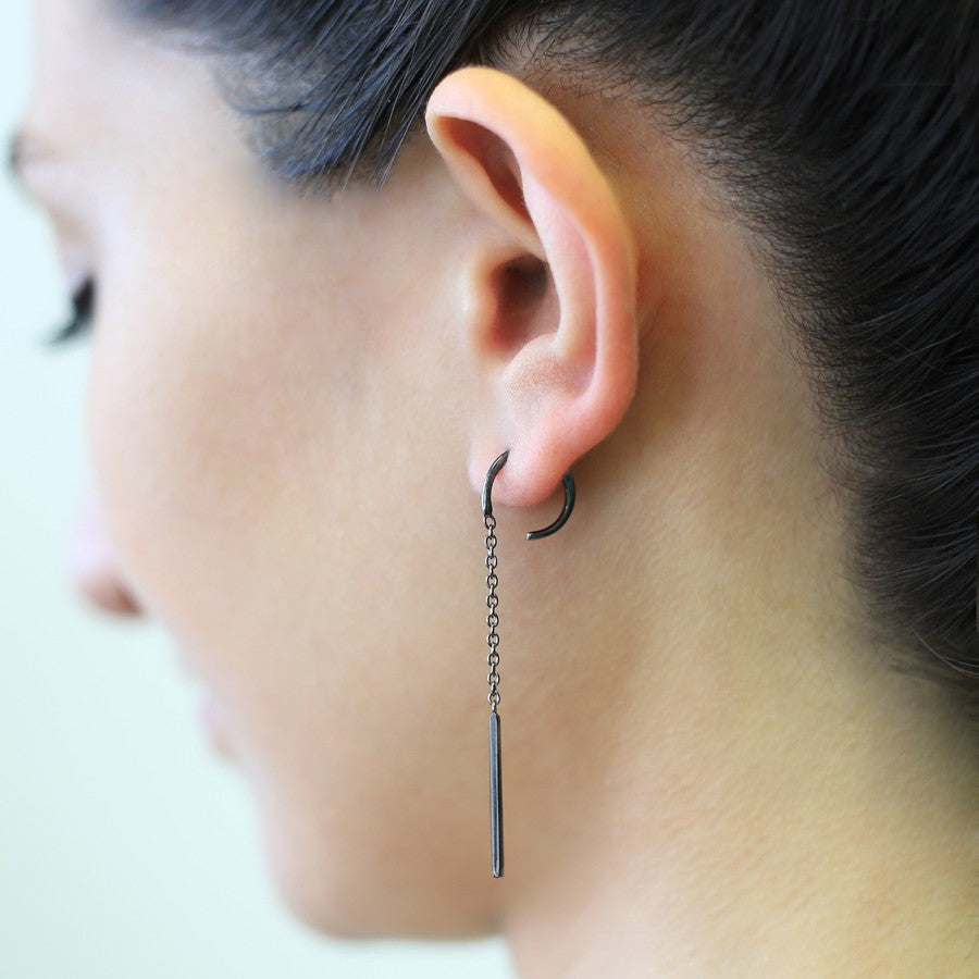 Dark Oxidised Silver Chain Long Drop Earrings - Otis Jaxon Silver Jewellery