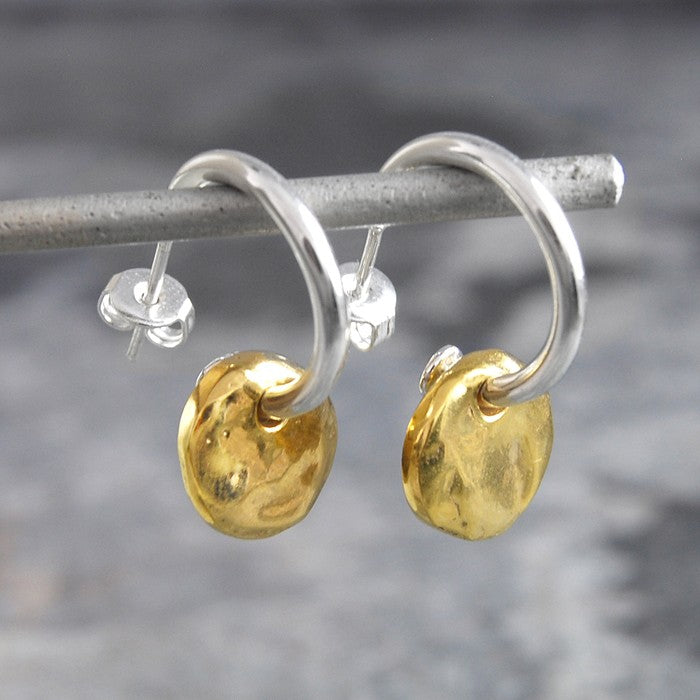 Organic Round Gold Hoop Earrings - Otis Jaxon Silver Jewellery