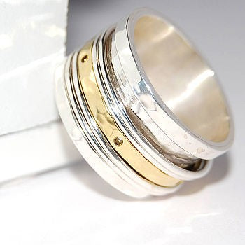 Hammered Spinning Silver and Gold Ring