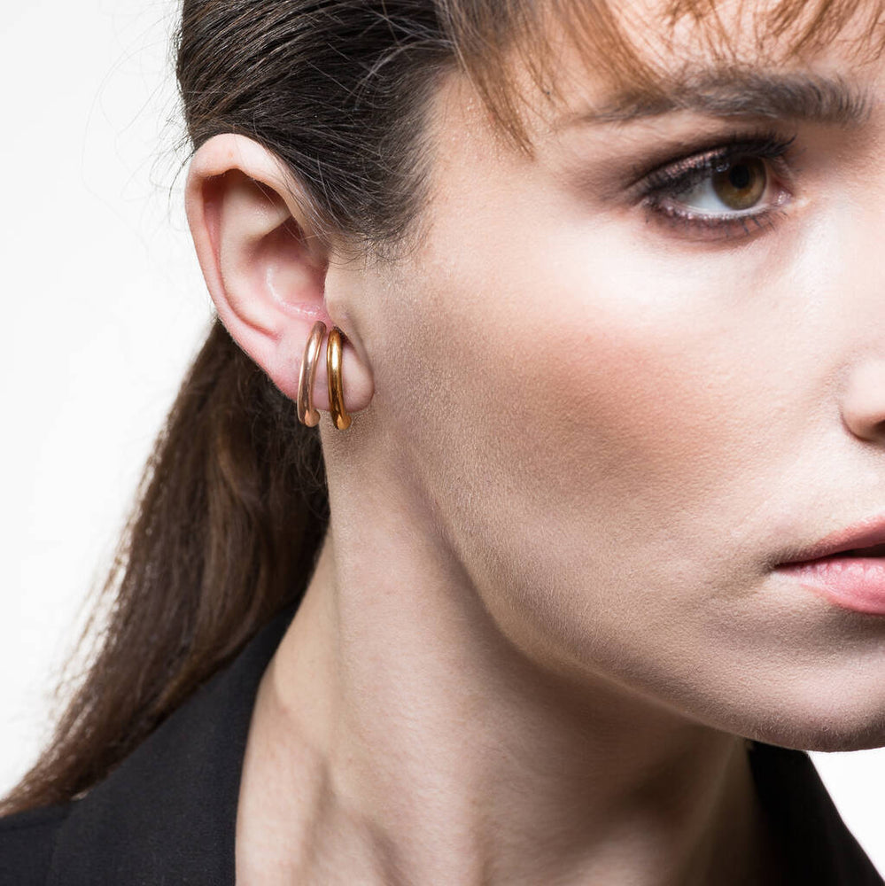 Curved Gold Suspender Stud Earrings - Otis Jaxon Silver Jewellery