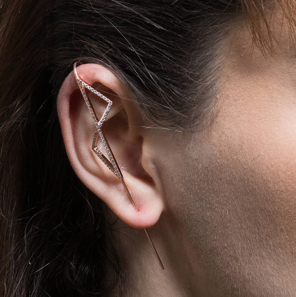 Rose Gold Triangle Zirconia Ear Cuffs - Otis Jaxon Silver Jewellery