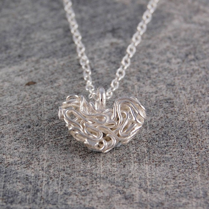 Mesh Silver Heart Pendant Necklace
