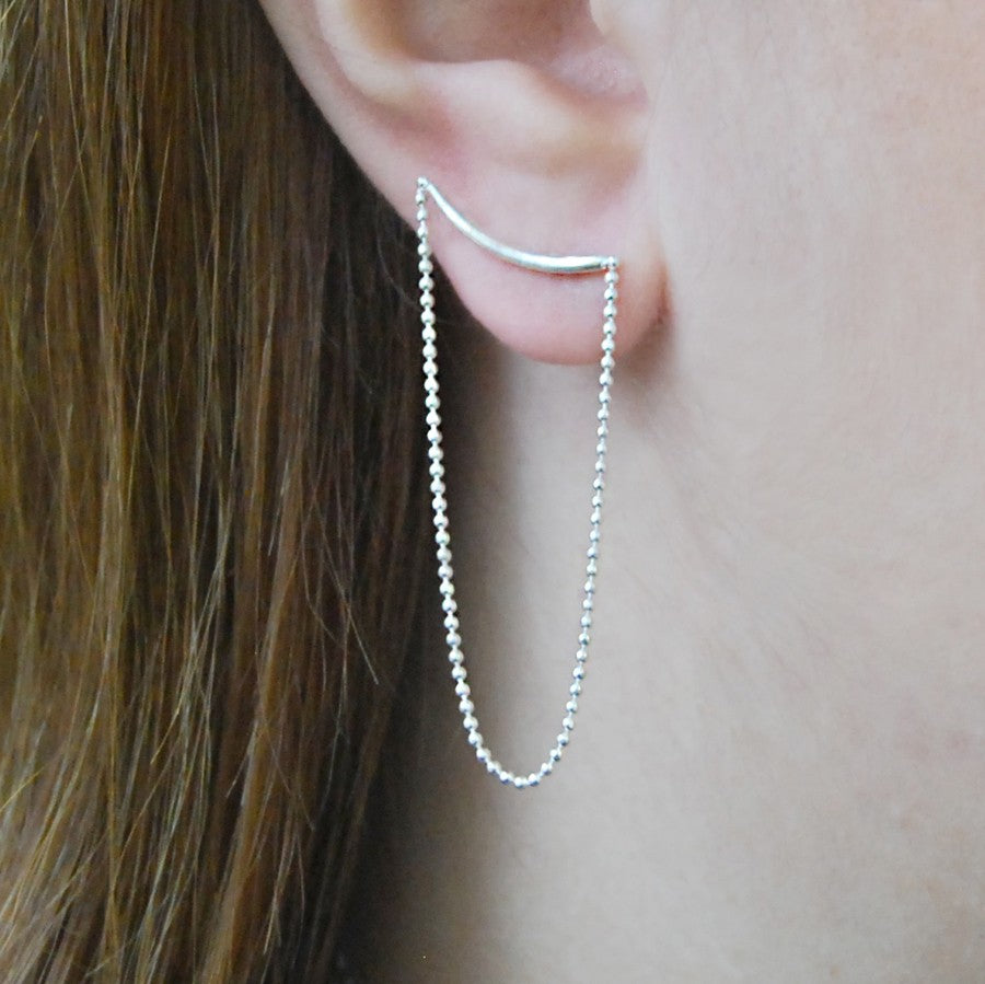 Silver Chain Stud Drop Earrings