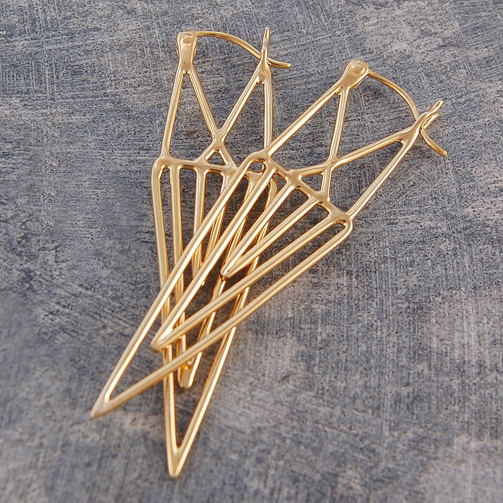 Aztec Geometric Gold Drop Earrings