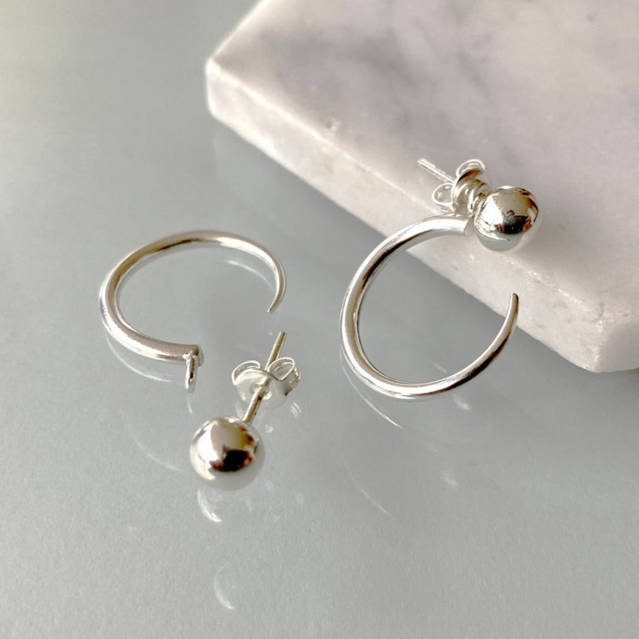 Sterling Silver Ball Stud Ear Jackets