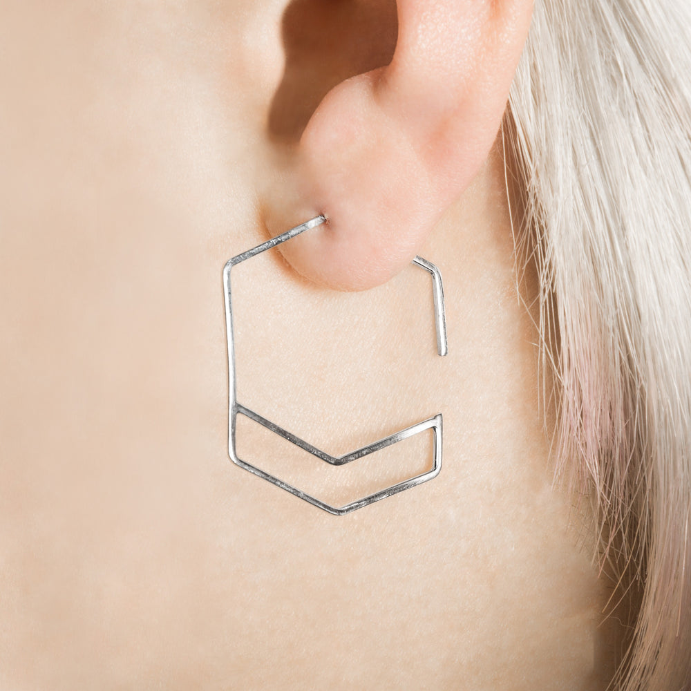 Silver Hexagon Hoops