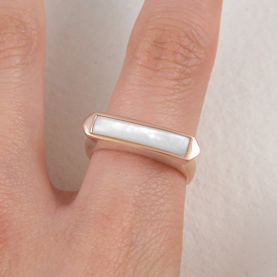 Silver and Gold Mother of Pearl Rings - Otis Jaxon Silver Jewellery