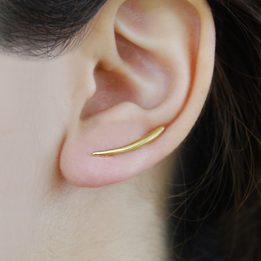 Rose Gold Curved Bar Ear Cuffs