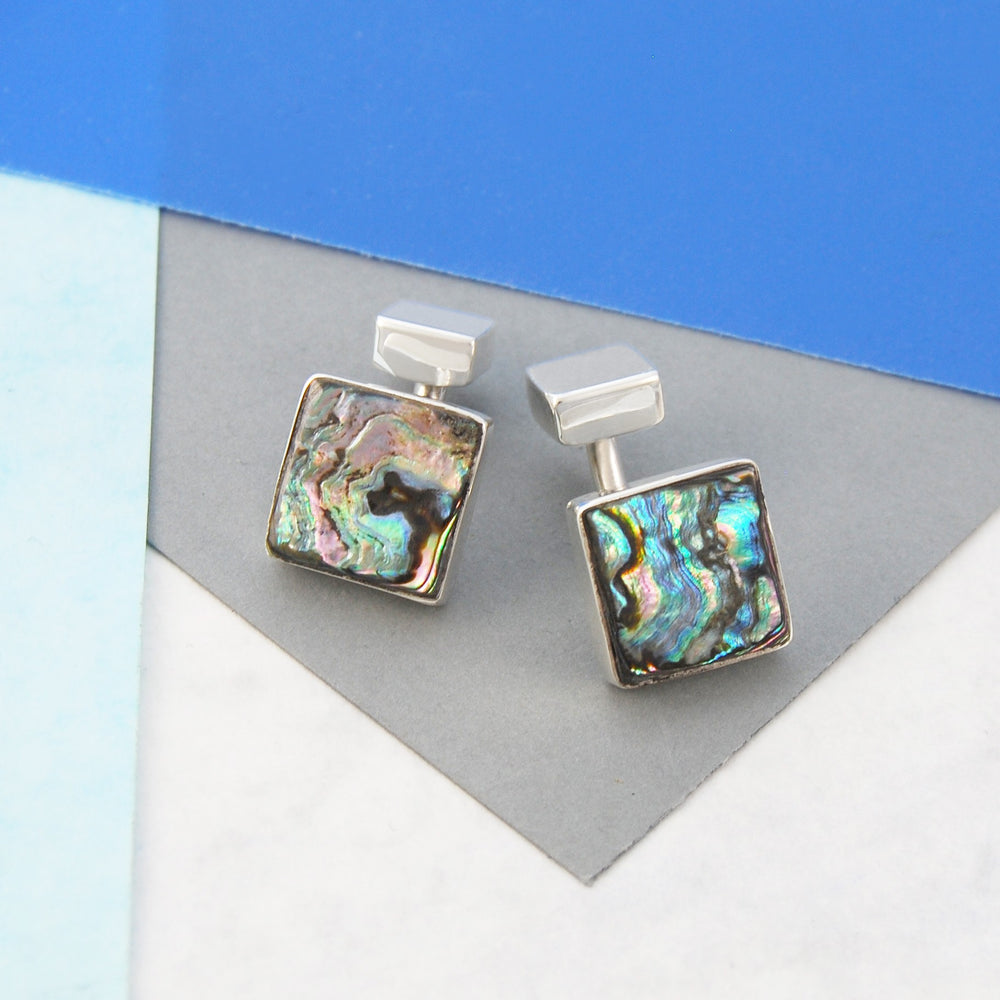 Abalone Square Silver Cufflinks