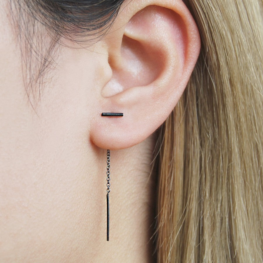 Bar Oxidised Threader Earrings
