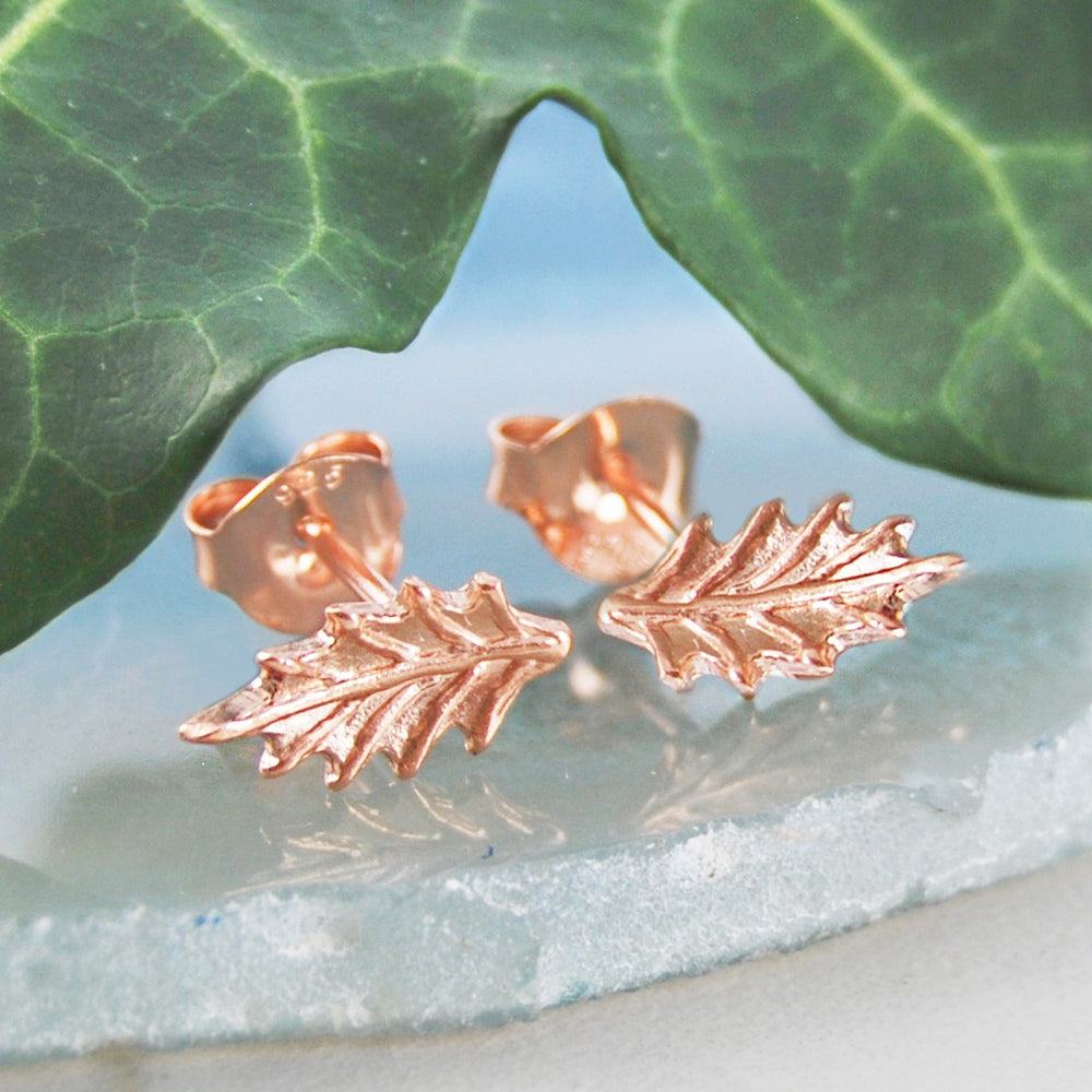 Holly Leaf Gold Stud Earrings