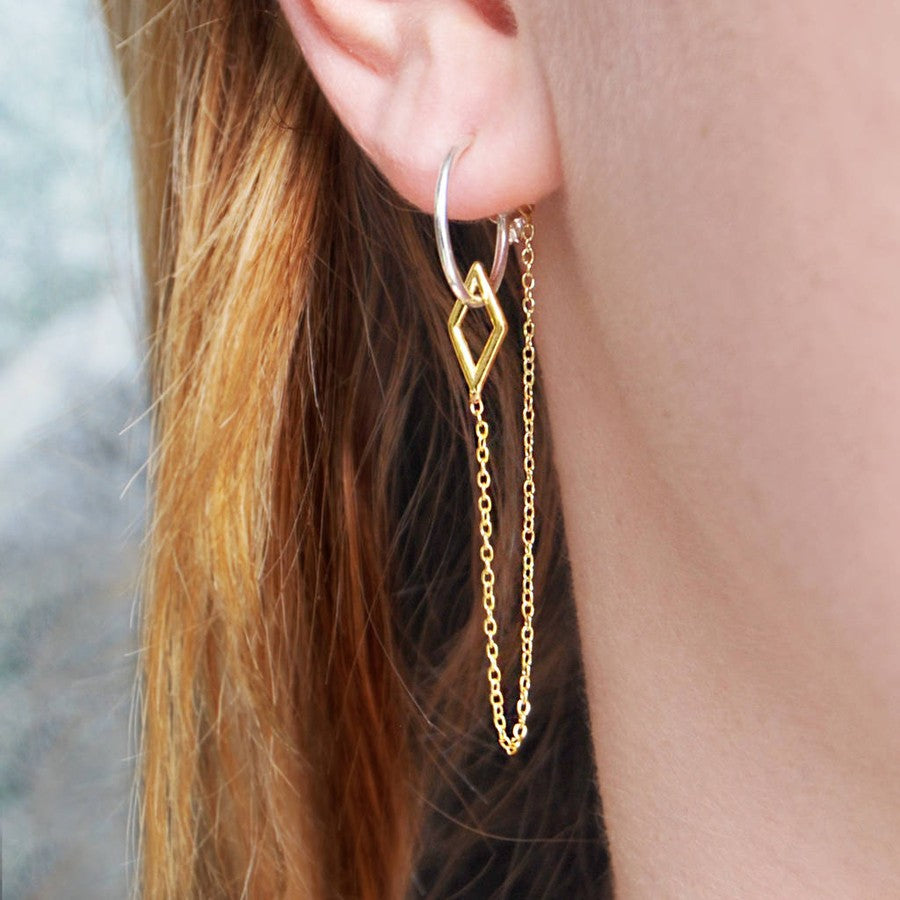 Diamond Gold Chain Earrings