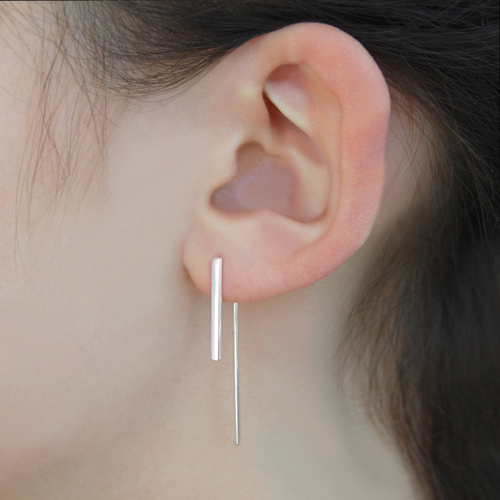Silver Bar Geometric Drop Earrings