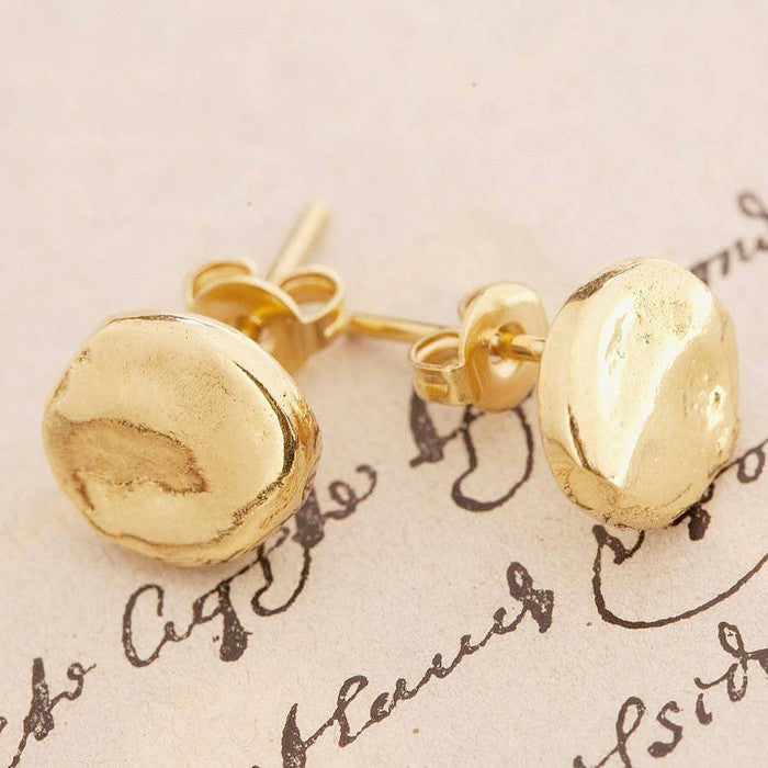 Organic Round and Square Gold Stud Earrings