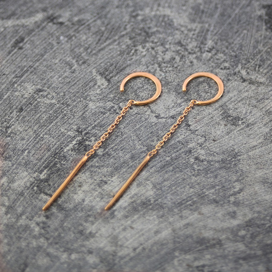 Rose Gold Chain Long Drop Earrings