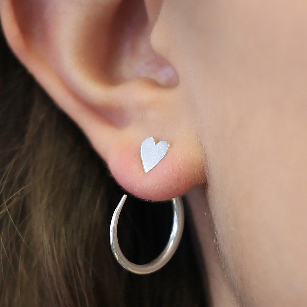 Silver Heart Hoop Ear Jacket
