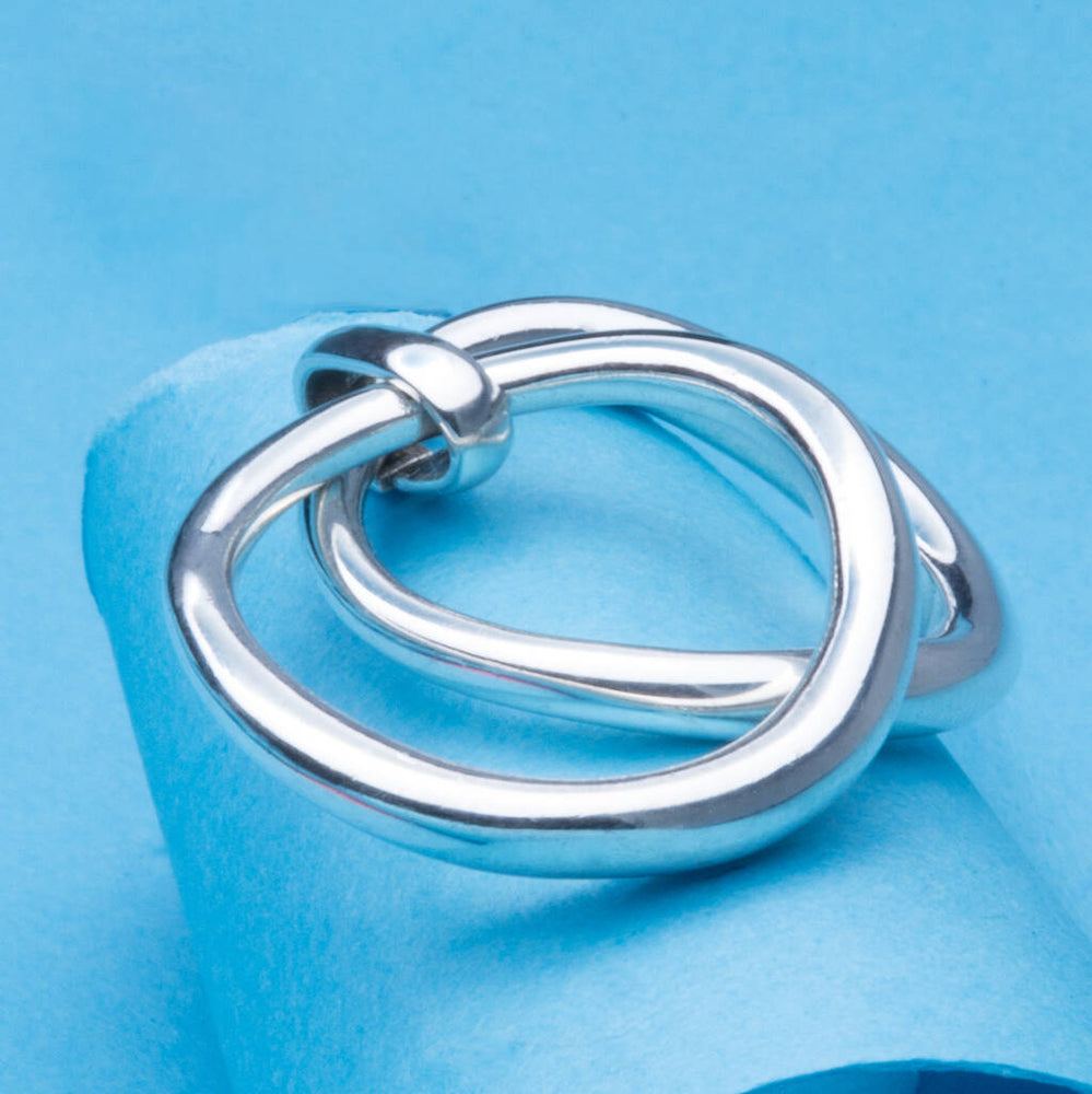 Curved Eternity Sterling Silver Double Stacking Ring - Otis Jaxon Silver Jewellery