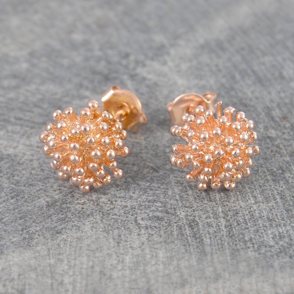 Dandelion Rose Gold Stud Earrings