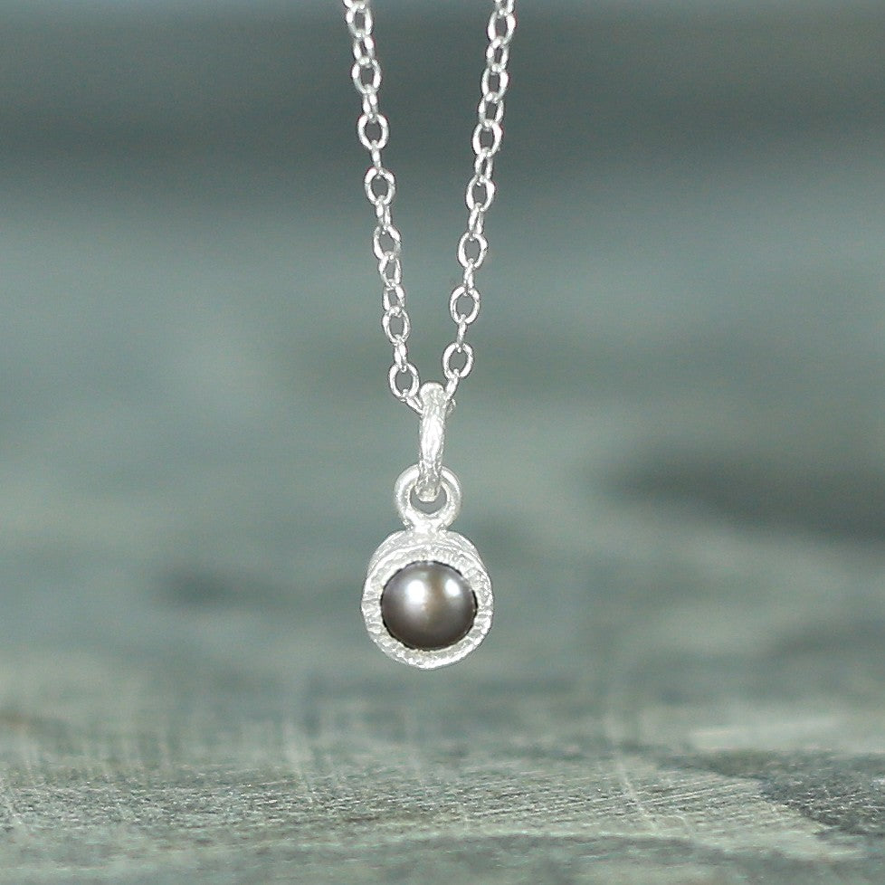 Textured Silver Dark Pearl Necklace - Otis Jaxon Silver Jewellery