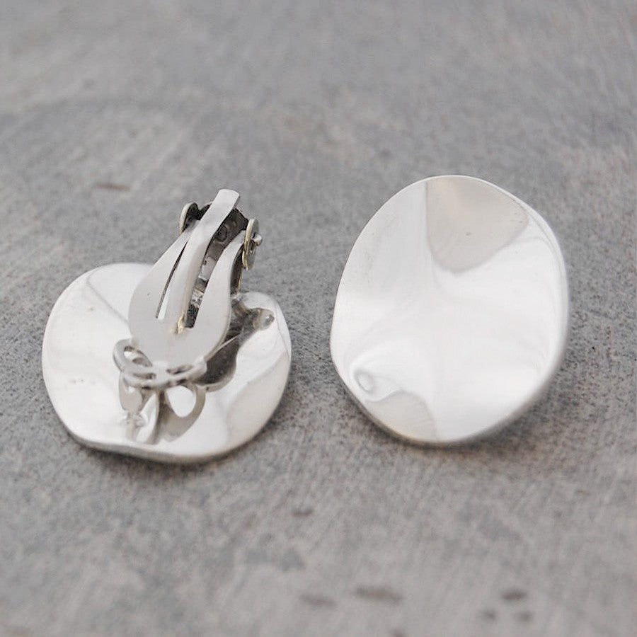 Wavy Disc Silver Clip On Stud Earrings